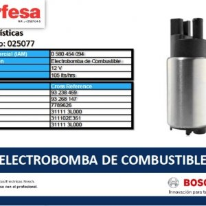 094 ELECTROBOMBA DE COMBUSTIBLE BOSCH (25077)