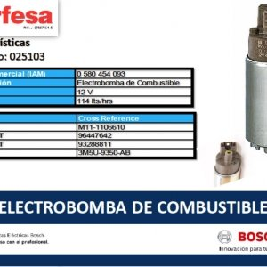 093 ELECTROBOMBA DE COMBUSTIBLE BOSCH (25103)